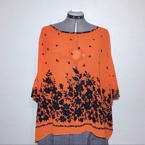 Boxy Oversized Allegra K Orange Blue Sheer Blouse